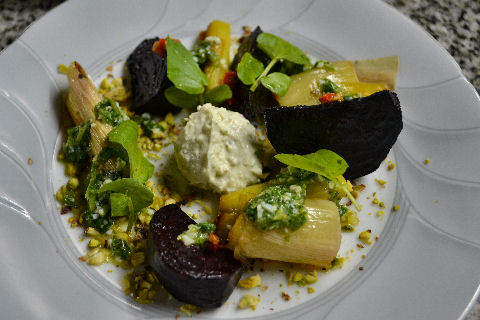 Roasted Beet & Leek Salad with toasted pistachios, blue cheese mousse ...