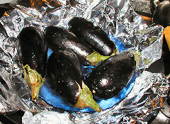 Eggplant ready to be smoked