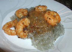 Firecracker Prawns on Sweet Potato Vermicelli