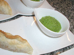 Smoked Potato and Lamb empanadas with Pea Sorbet