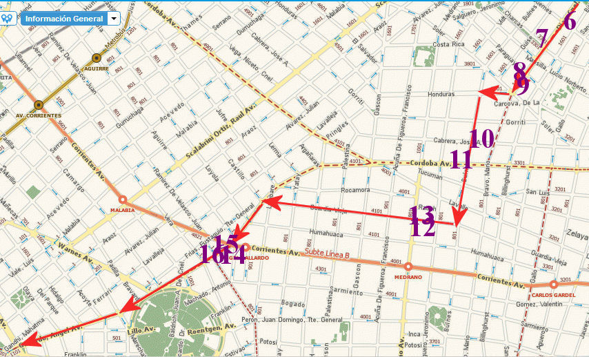 92 Bus route with pizzerias 6 to 16