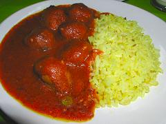 Tulasi - koftas in tomato curry with rice
