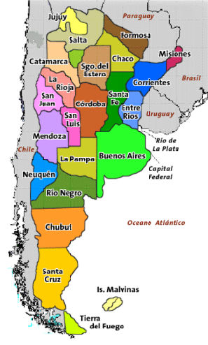 Argentina Geography Lesson - Argentina map by province
