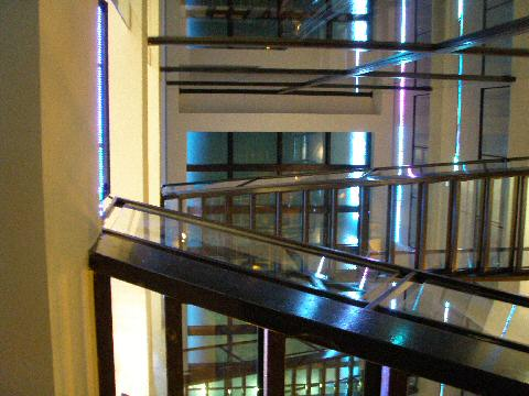 Axel Hotel - glass stairs and walkways