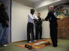 Sifu Shamburger presents me with my blackbelt