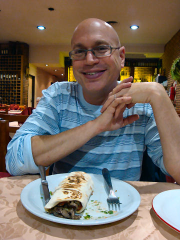 Chef Iusef - enjoying a shawarma