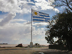 Colonia - Uruguayan flag on the point