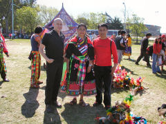 Henry and I with a woman in native Bolivian costume