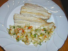 Gatuzo with Cucumber-Melon Salsa