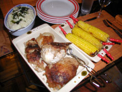 Fried chicken, roast corn, mashed potatoes