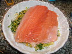Gravlax - place the salmon on top