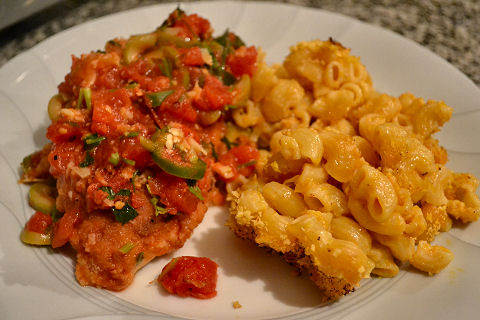 Spicy Green Olive Chicken with Mac & Cheese