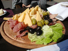 Cold cut and cheese plate at Harbor Cafe