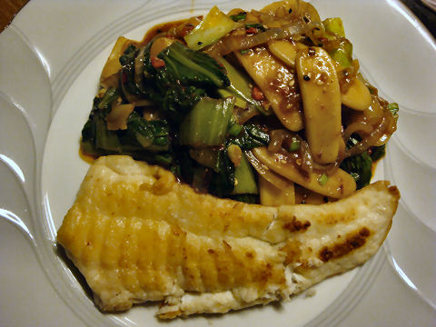 Pan-sauteed Sole with Spicy Rice Cakes