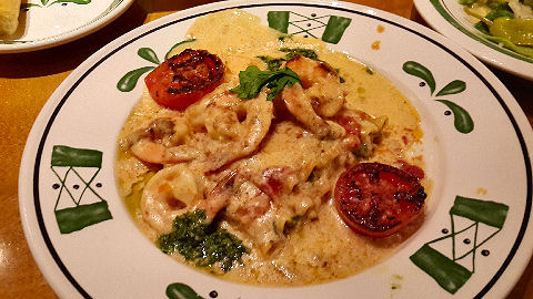 Olive Garden - veg lasagna with shrimp