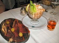 Plaza Asturias - jamon serrano, shrimp cocktail, and sherry