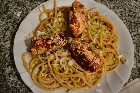 Sesame noodles with prosciutto wrapped turnips