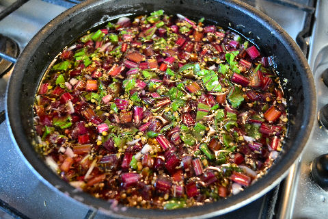 Spicy beet stem pickle