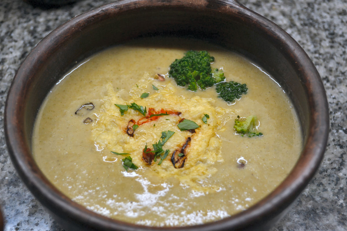 Soup – roasted broccoli and leeks simmered with garlic, ginger, miso ...