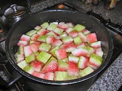 Cubed watermelon rind ready for blanching