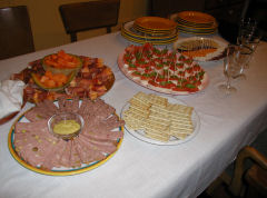 Xmas Day hors d'oeuvres table