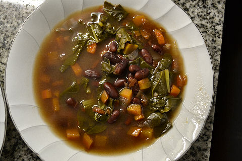 Red Bean, Rocoto, Swiss Chard soup
