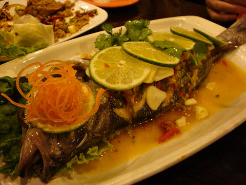Chao Thai - steamed striped bass with ginger sauce