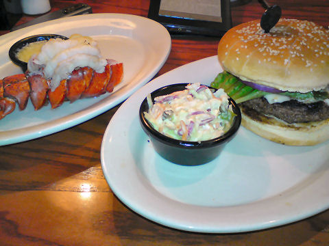 Longhorn Steakhouse - black and bleu burger surf and turf