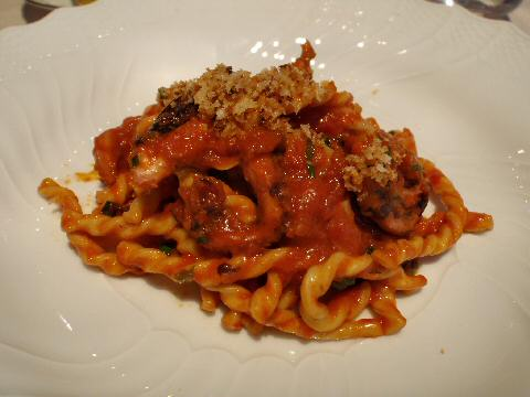 Marea - fusilli with red wine braised octopus and bone marrow