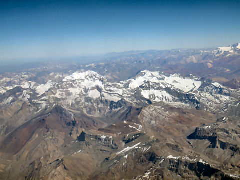 Flying over the mountains to Santiago