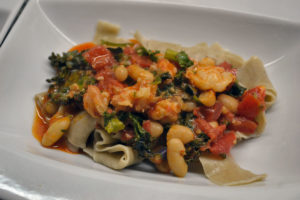 Rye Pappardelle with Prawns