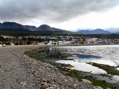 View of Ushuaia from the west of the bay